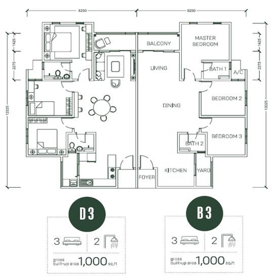 Floor Plan Type D3 & B3