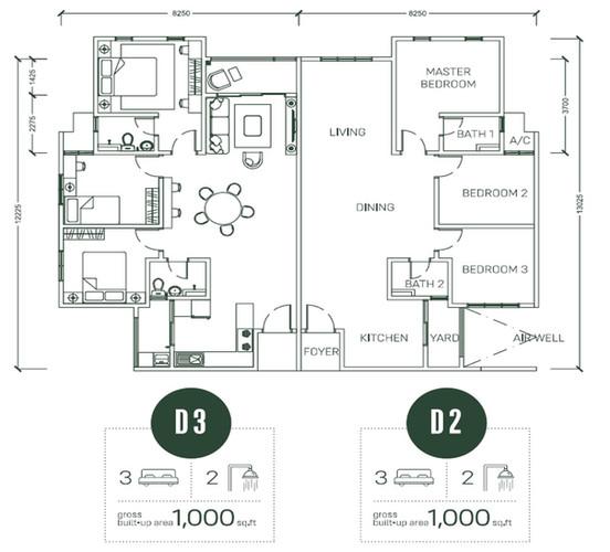 Floor Plan Type D2 & D3