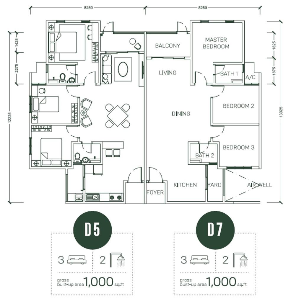 Floor Plan Type D5 & D7