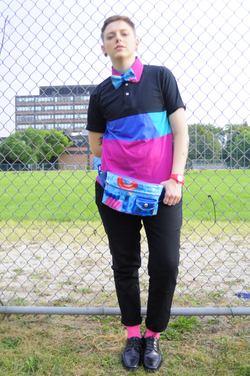 Aqua bow tie and hip-pack