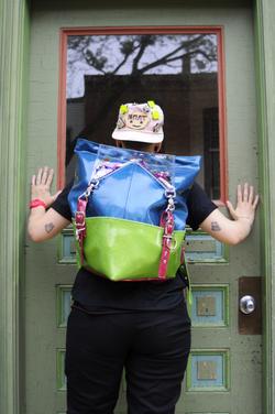 Glitter Vinyl Triangle Backpack