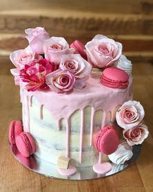 Pink Floral Macaroon Drip Cake