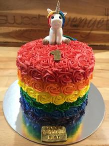 Unicorn Rainbow Cake - inside and out