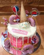 Donut, Ice Cream drip cake! Happy Birthd