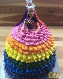 Rainbow Barbie Doll Cake