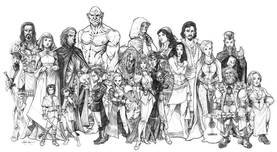 Diferentes espécies (raças) de Dungeons & Dragons, lado a lado.
