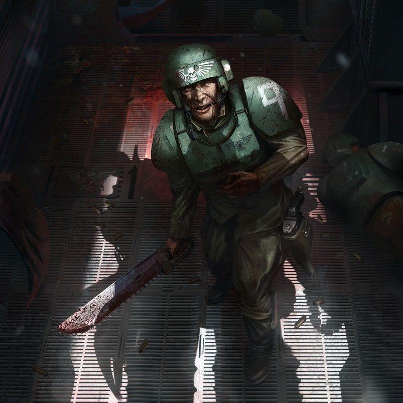 Um militar, vestindo uma armadura de metal verde, parece ferido. Empunha uma serra ensanguentada em uma das mãos, enquanto a sombra de um inimigo monstruoso projeta-se sobre ele.