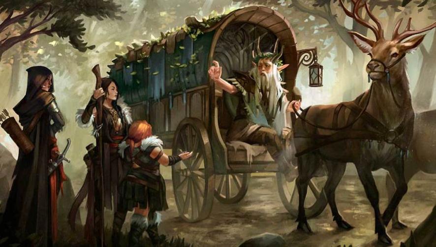 Um druida em uma carroça acena para 3 pessoas no meio da estrada. Duas mulheres adultas e uma criança.