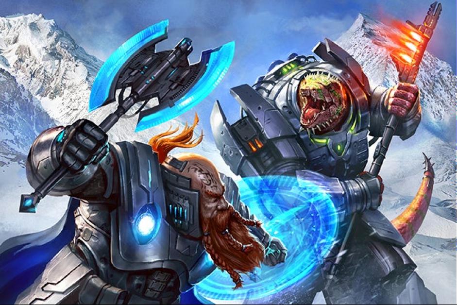 Um Anão e um Vesk com armaduras e armas pesadas travam uma batalha corpo-a-corpo em meio a montanhas nevadas.