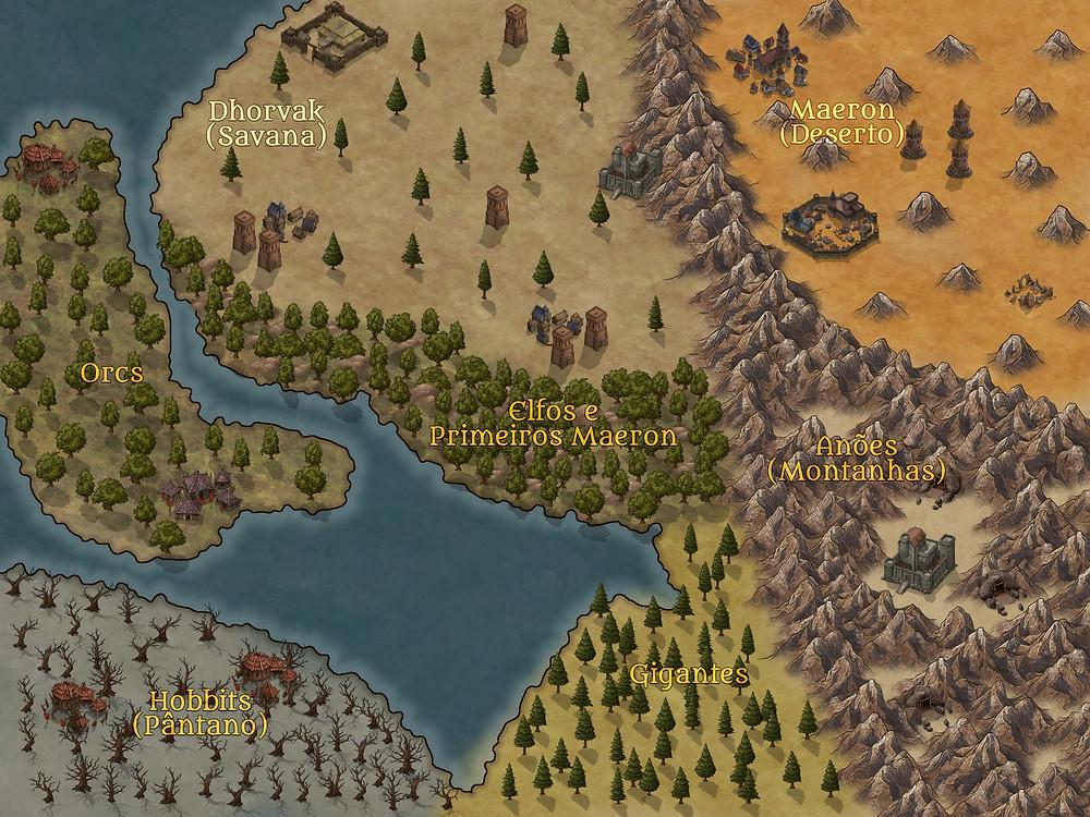 Mapa de fantasia criado para um cenário de RPG de mesa.