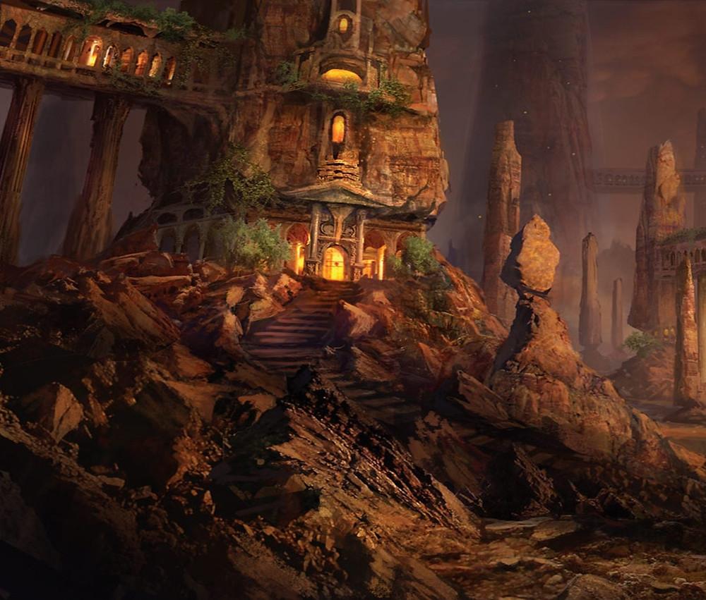 Ruínas de uma cidade de fantasia