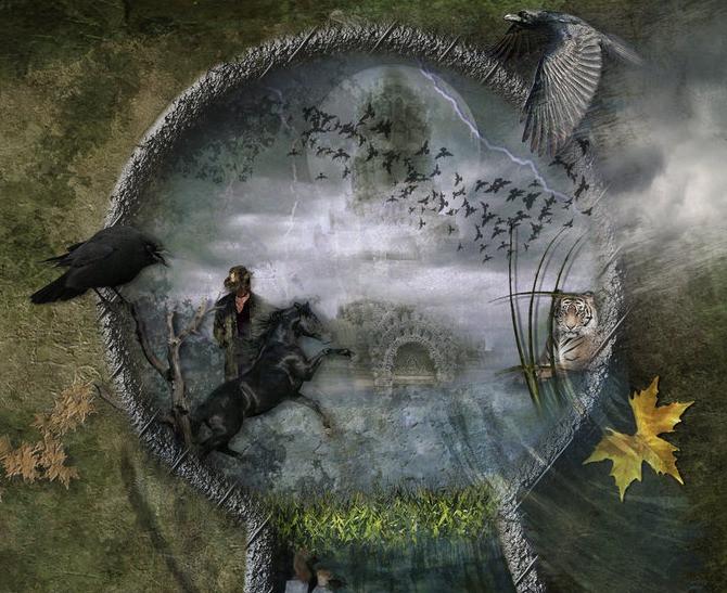 Um buraco de fechadura gigantesco, esculpido na grama, mostra diversas realidades simultâneas, como um castelo medieval, um cavalo empinando e pássaros voando.