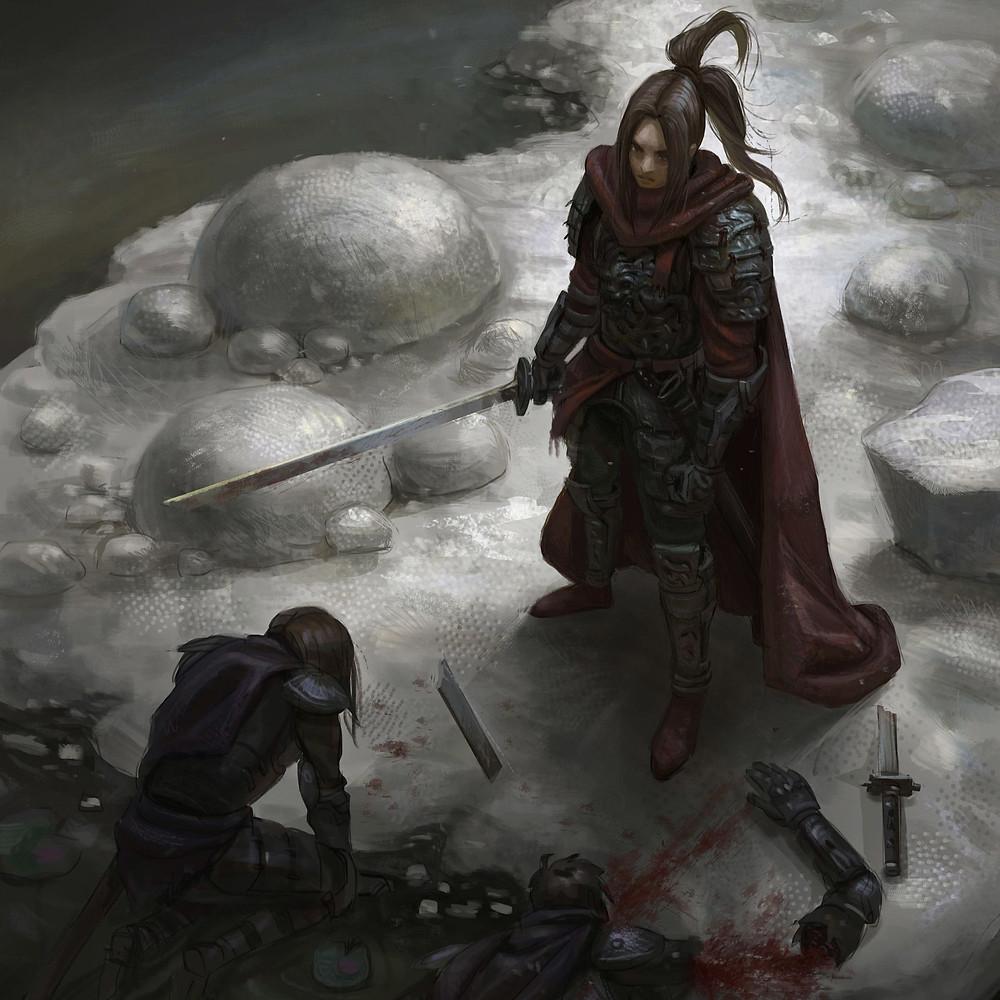 Uma guerreira, de joelhos em um terreno pedregoso, rende-se à guerreira inimiga. Esta está de pé, empunhando uma espada.