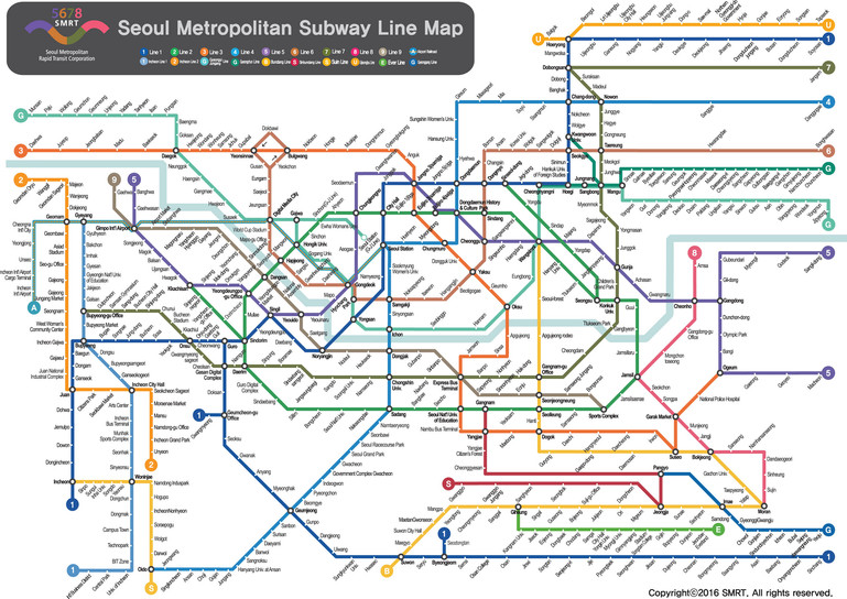 Seoul Station Subway Map.Korea Transportation Maps Schedules