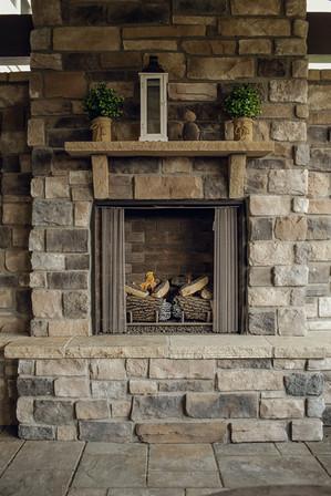 Custom-built fireplace