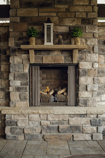 Custom-built fireplace