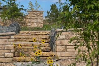 Custom stone stairway, landscaping