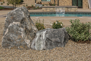 Landscaping stones and native flower plantings