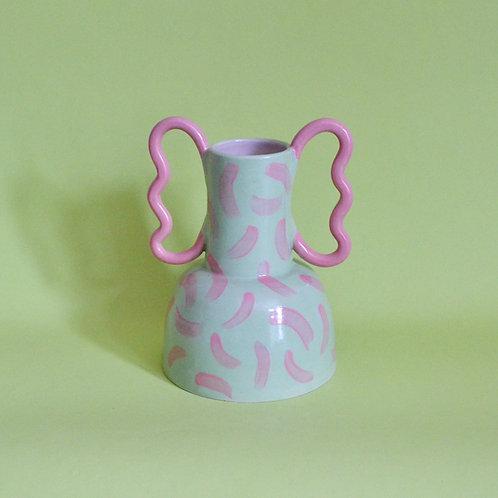 Wiggle Handle Vase - Pink and Green Dash