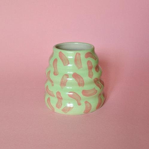 Wiggle Pot - Lime with Pink Dash