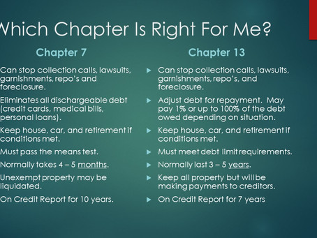 Chapter 7 vs. Chapter 13.