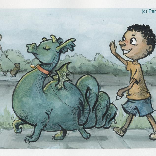 Walking My Dragon (Illustration)