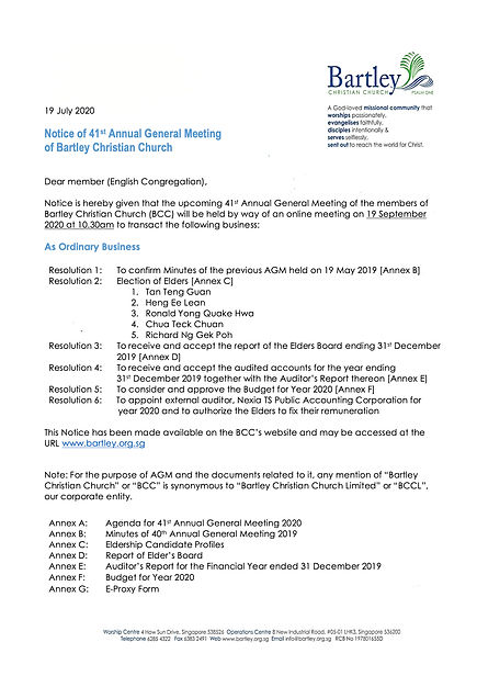 41st AGM Notice of AGM - English Congreg