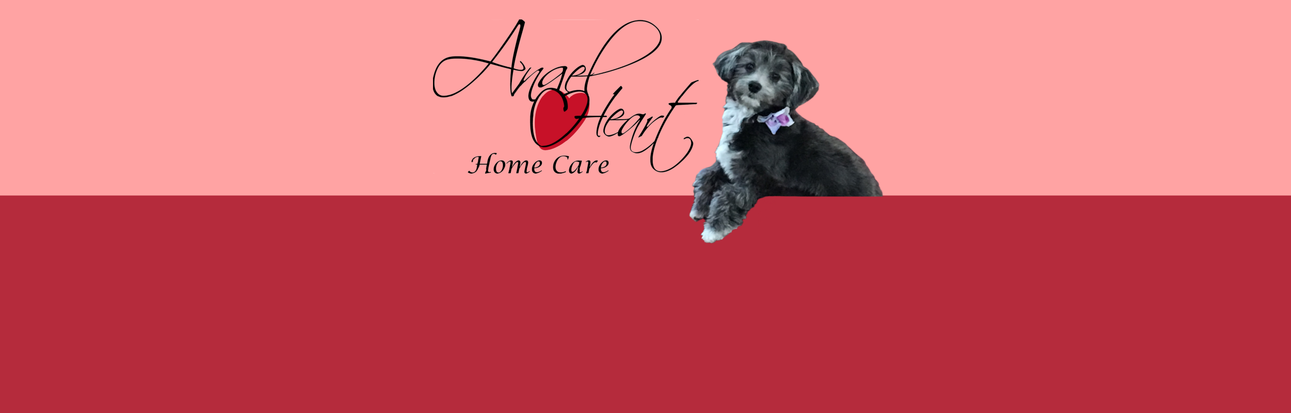 Abby the Dog with Angel Heart Logo | Angel Heart Home Care | The Best Care for Your Loved Ones