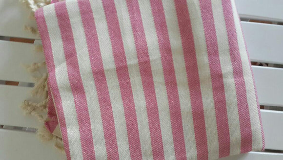 Pink Hamam Towel. Stripes