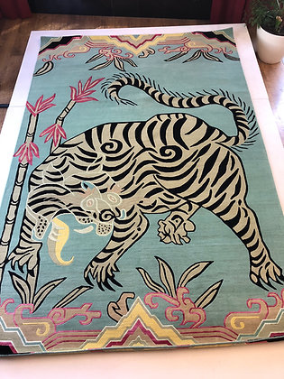 Tiger in Bamboo Green