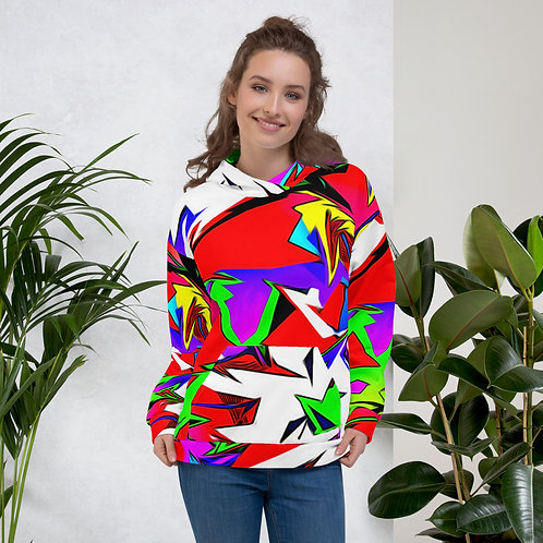 Colorful Ultra Mod Abstract Unisex Hoodie, Mens and Womans Colorful Hoodie