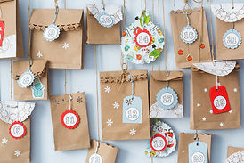 advent calendar with small gifts close u