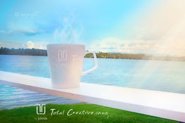Mug Coffee Cup Water Lake Beach Stock Photo