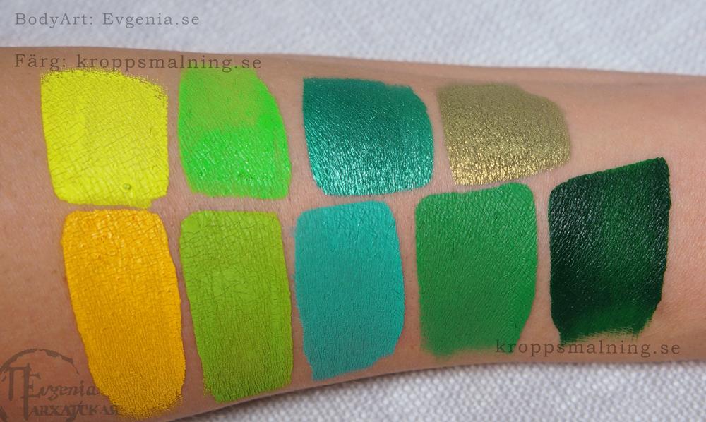 ansiktsmalning_gul_grön_färg_dfx_swatch_test_evgenia_facepainting_sverige_web