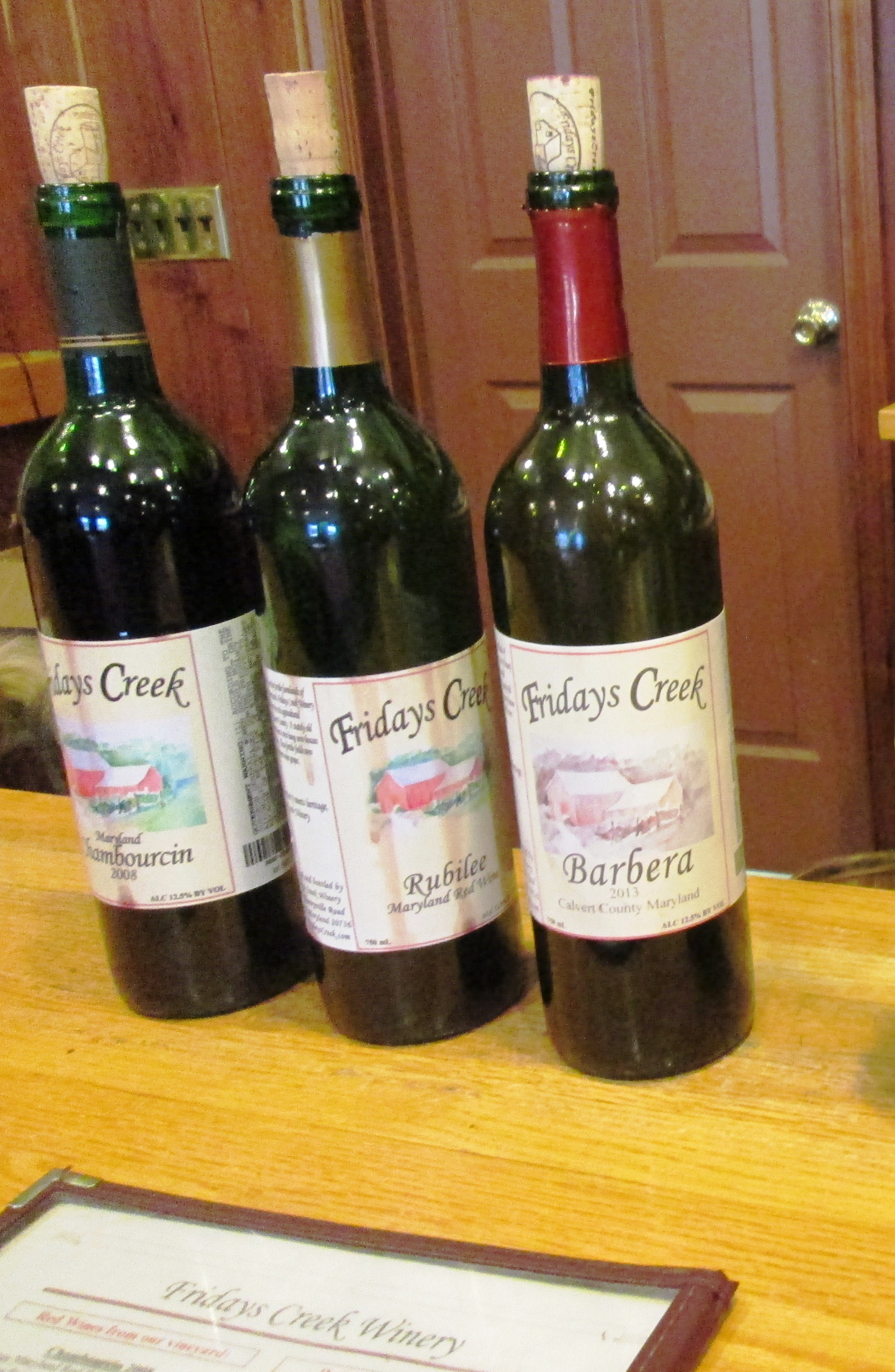 Friday's Creek wine selections.
