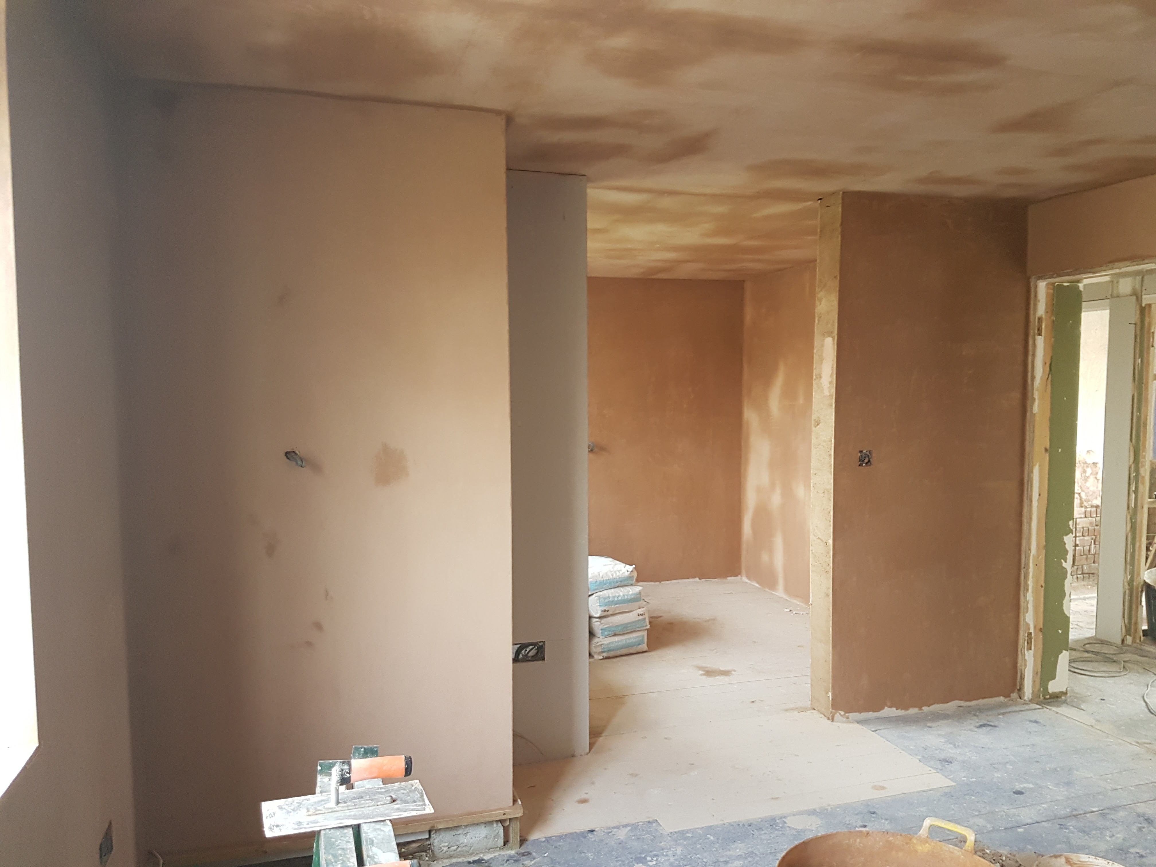 Plastered bedroom