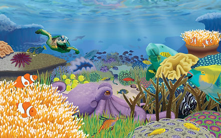 The Great Barrier Reef illustration, teeming with life and full of sea creatues, beautiful and colourful composition.