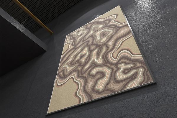 Badlands, topographic inspired map design illustration. Alberta Badlands. Wall application.