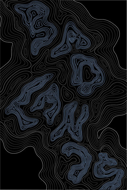 Badlands, topographic inspired map design illustration. Alberta Badlands.