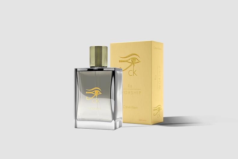 Calvin Klein Ra Worship Fragrance natural pheromone enhancer. Product Design logo and wordmark.