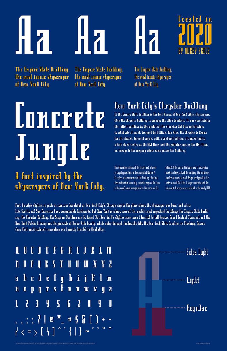 Concrete Jungle Typeface Specimen Sheet