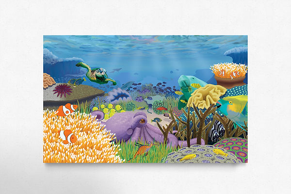 The Great Barrier Reef illustration, teeming with life and full of sea creatues, beautiful and colourful composition. Wall application.