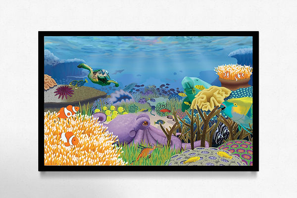 The Great Barrier Reef illustration, teeming with life and full of sea creatues, beautiful and colourful composition. Poster application.frame-mockups-01-horizo