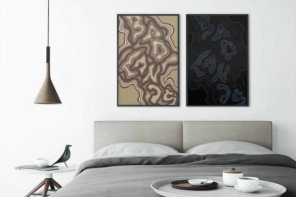 Badlands, topographic inspired map design illustration. Alberta Badlands. Bedroom Wall.