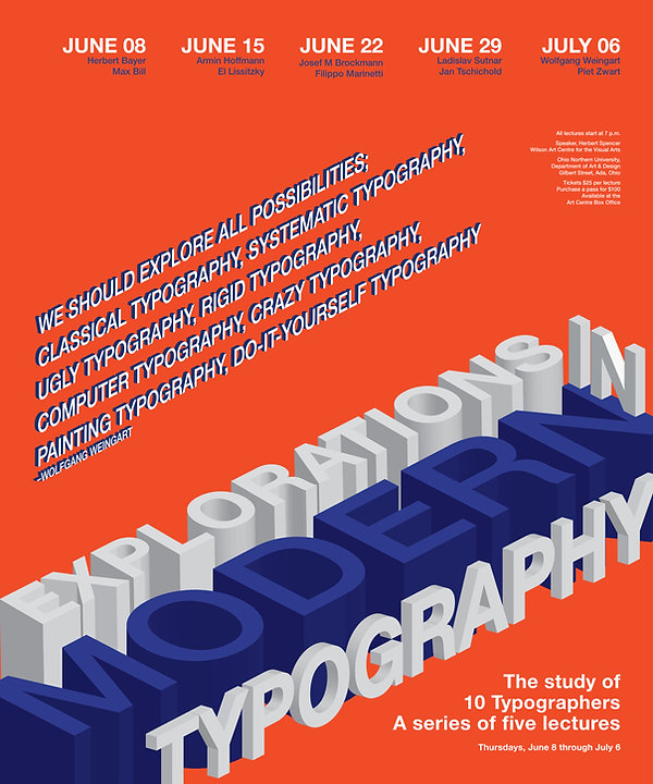 Ecplorations in Modern Typography. Bradsheet poster design, 3-D.