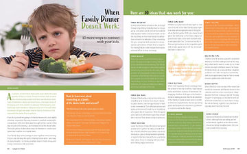 Parenting magazine design spread layout. When Family Dinner Doesn't Work.