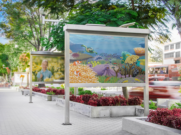 The Great Barrier Reef illustration, teeming with life and full of sea creatues, beautiful and colourful composition. Outdoor application.