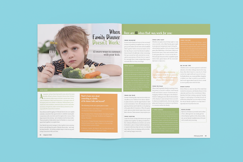 Parenting magazine design spread layout. When Family Dinner Doesn't Work application.