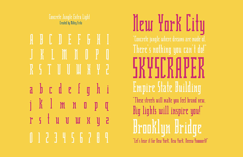 Concrete Jungle Extra Light Typeface Specimen Sheet