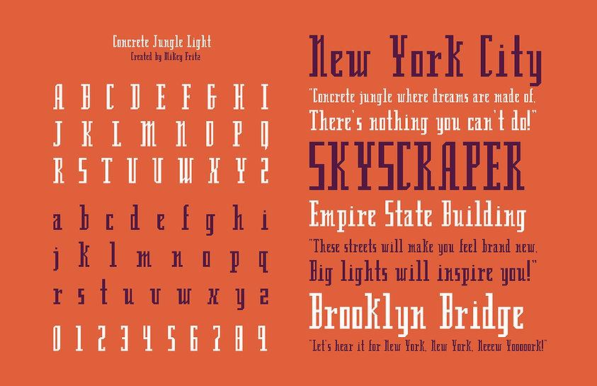 Concrete Jungle Light Typeface Specimen Sheet